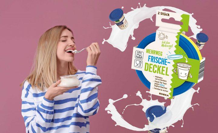 EDEKA spart Plastikdeckel auf Joghurtbechern ein